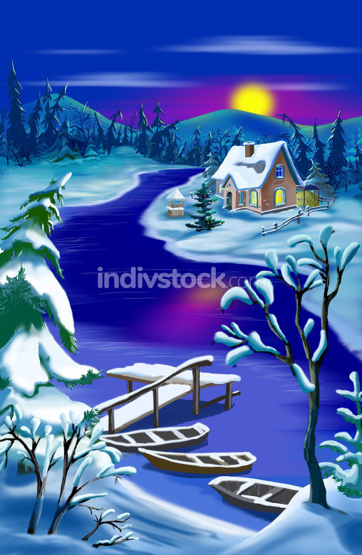 Magic River Landscape at Moon  Christmas Night