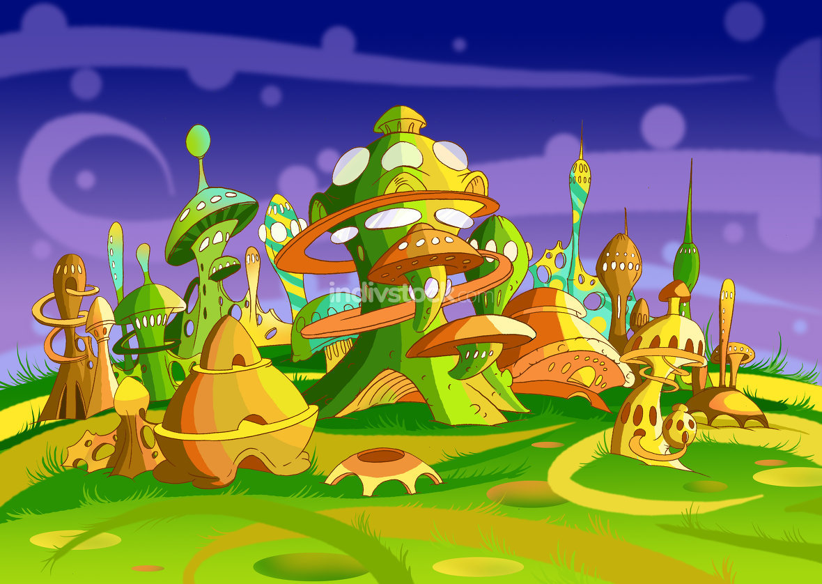 Mystery Wonderland. Futuristic Alien City