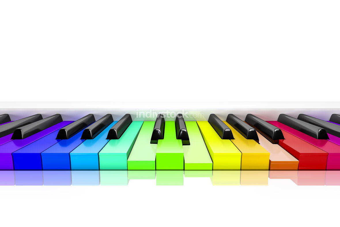 piano with rainbow colored keys background