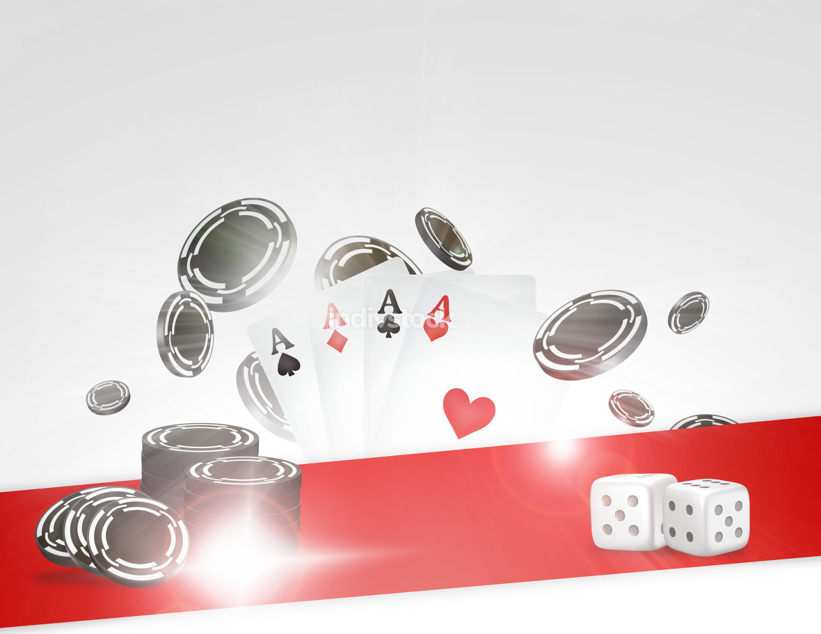 Poker chips and cards 3d render