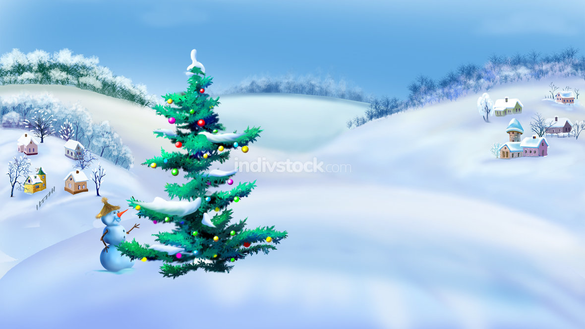 Rural Landscape with Christmas Tree and Snowman in a Winter Day