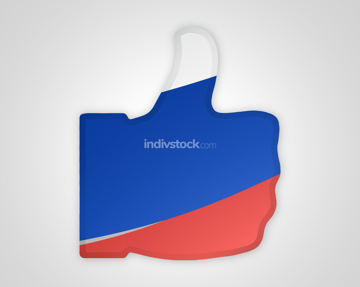 russia russian big thumbs up russian flag design 3d render