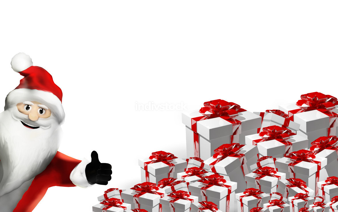 Santa claus and gifts 3d render