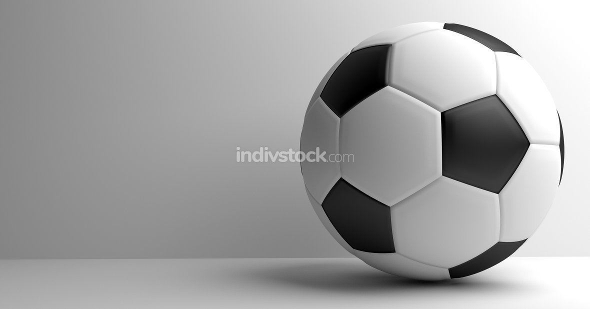 soccer football. Ball 3D render. Football background.