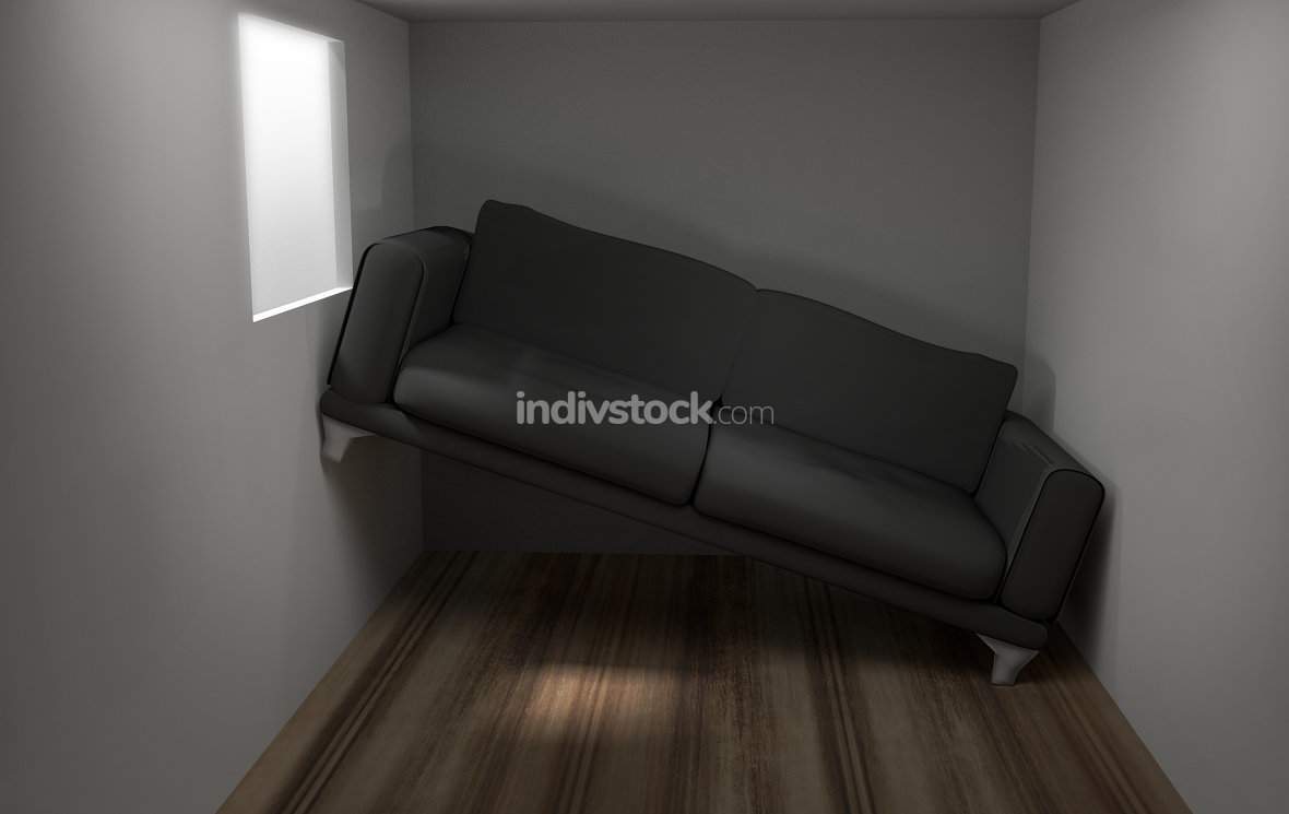 Space problems in the small living room 3d render