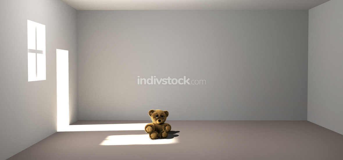 teddy bear crying weeping cry 3d render teddy bear