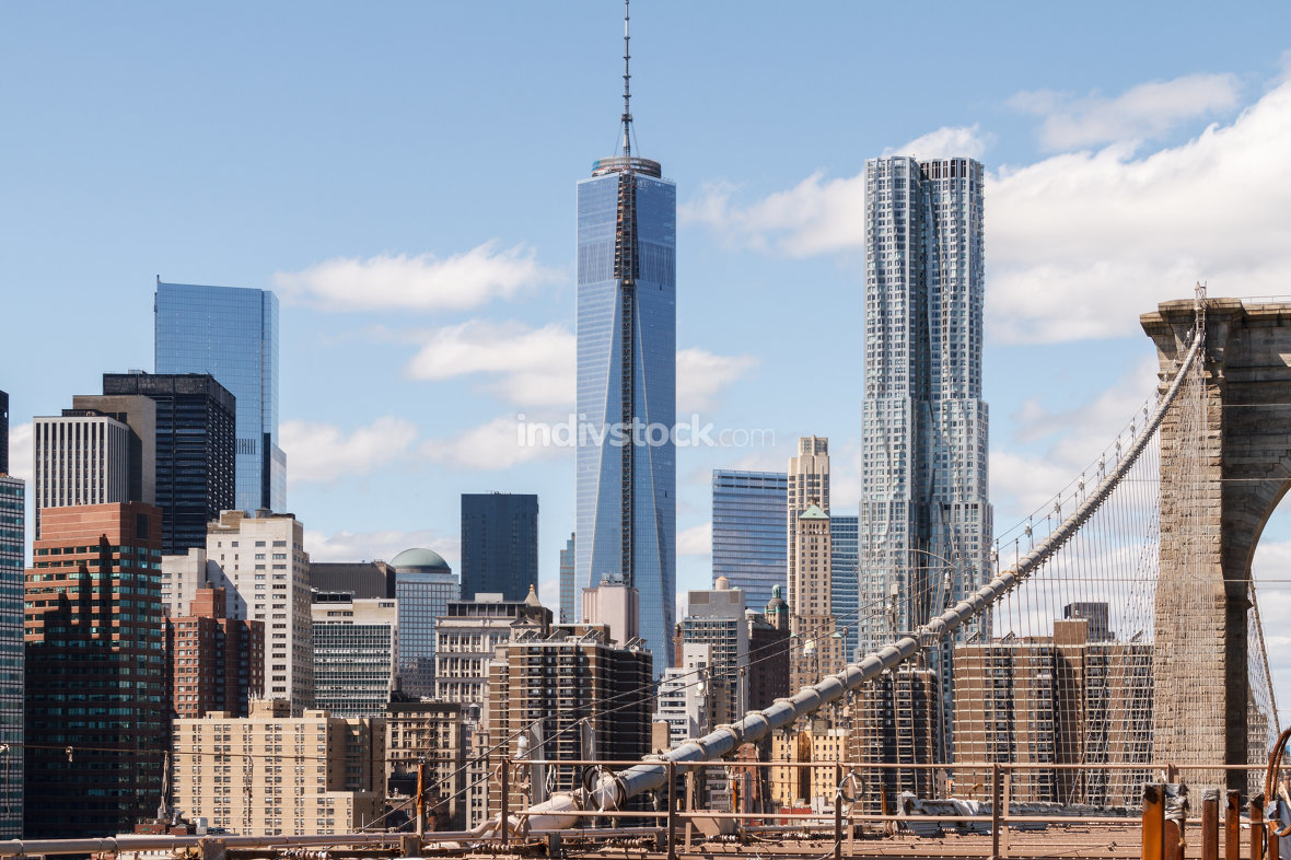 The view of Lower Manhattan from the Brooklyn Bridge