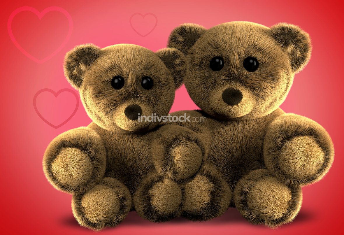 two cute fluffy stuffed bears 3d render