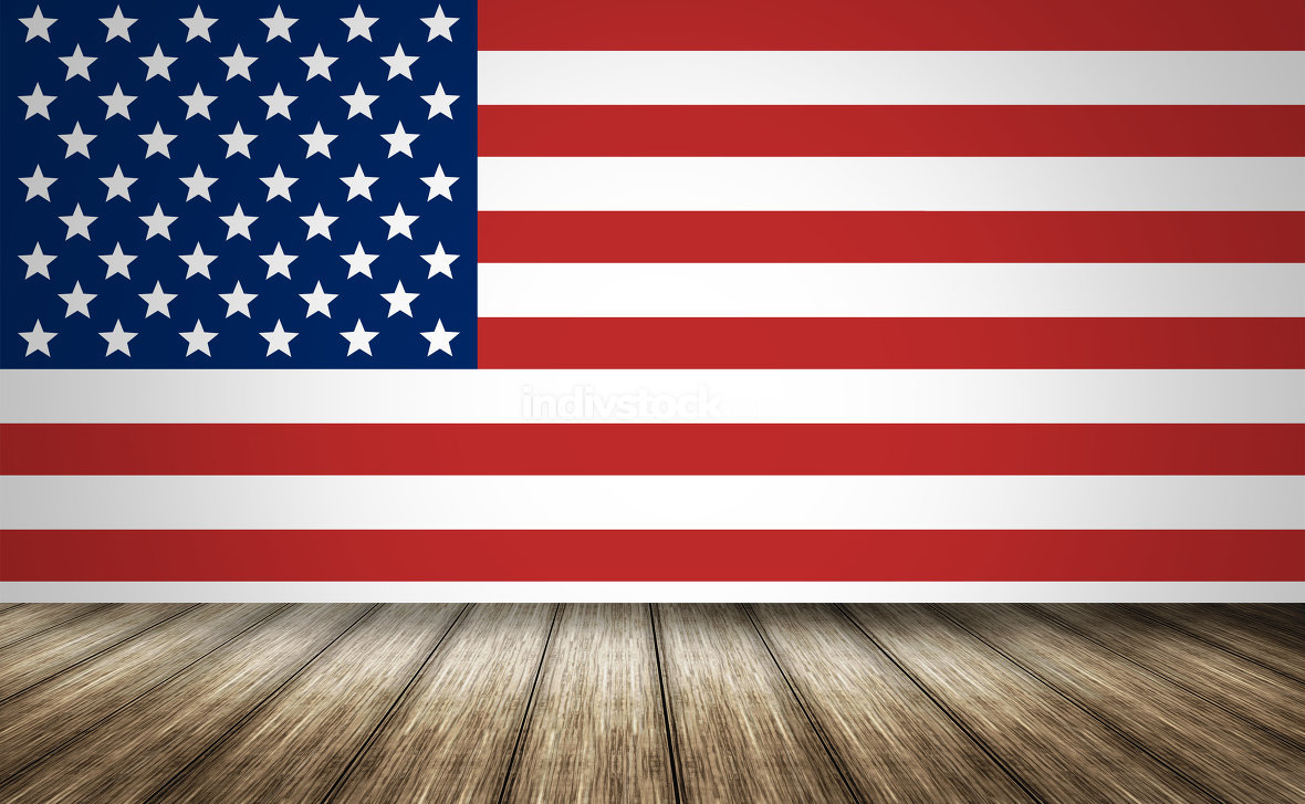 USA america state flag background wood 3d render