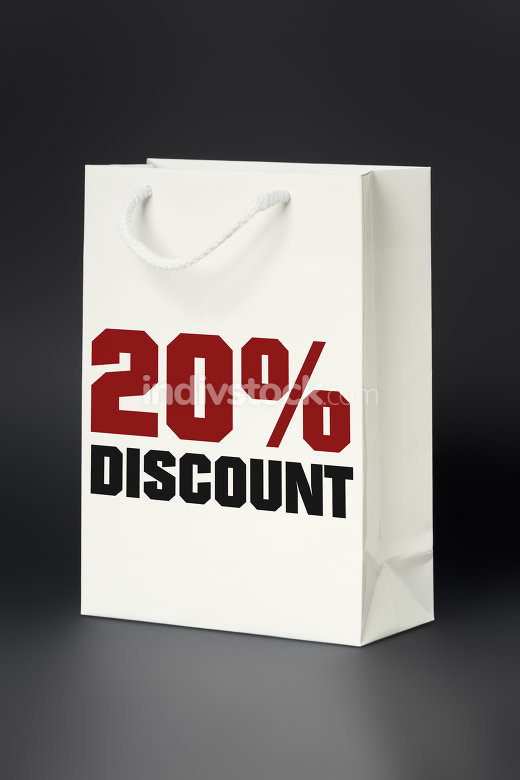 white shopping bag 20 percent discount