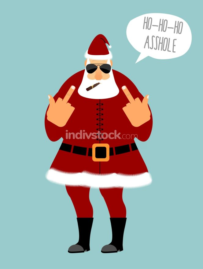 Angry Santa smokes cigar and shows fuck. HO HO HO is an asshole.