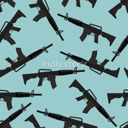 Automatic rifle M16 seamless pattern. Arms on blue background. M