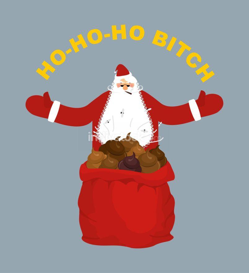 Bad, evil Santa Claus. Amoral Santa with cigar. Red bag with shi