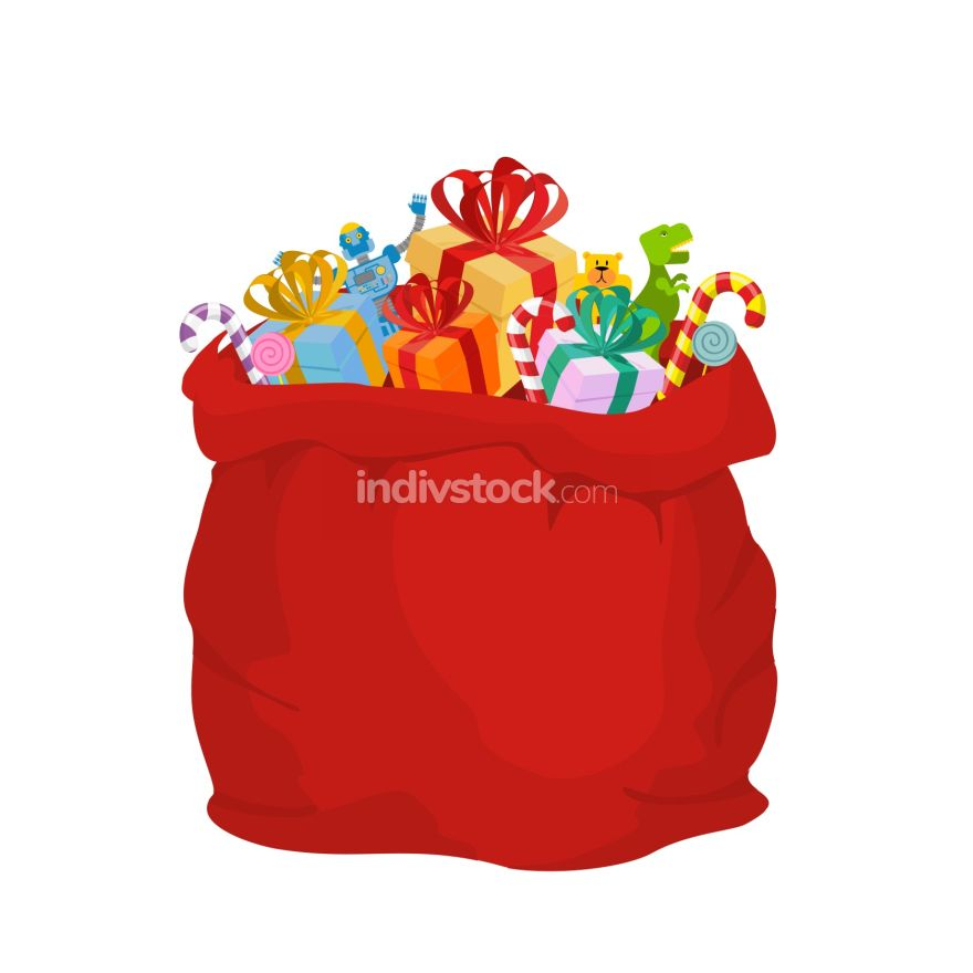 Bag with gifts Santa Claus. Big Red festive holiday bag. Many gi