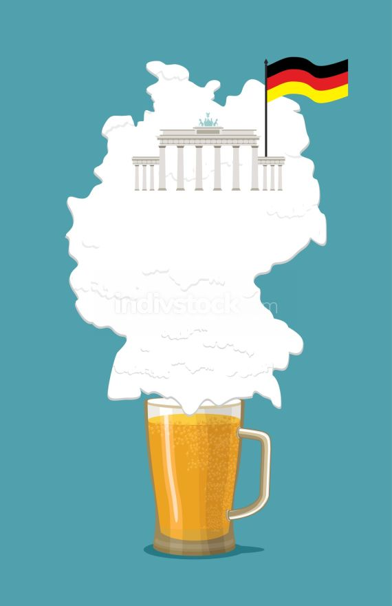 Beer with foam silhouette German map. Brandenburg Gate and flag