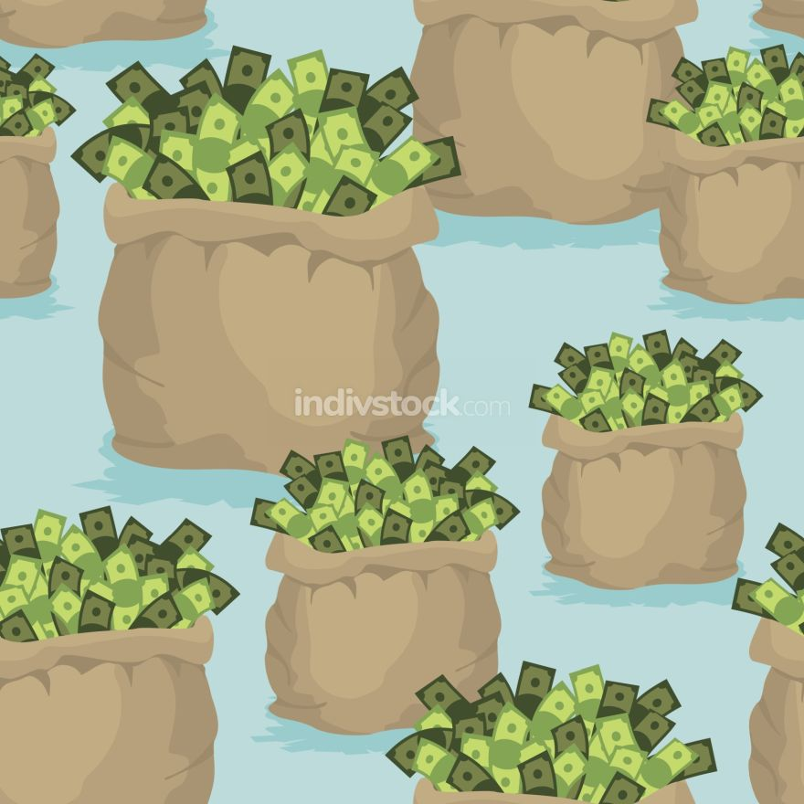 Cash bag seamless background. Pattern of dollars of money. Ornam