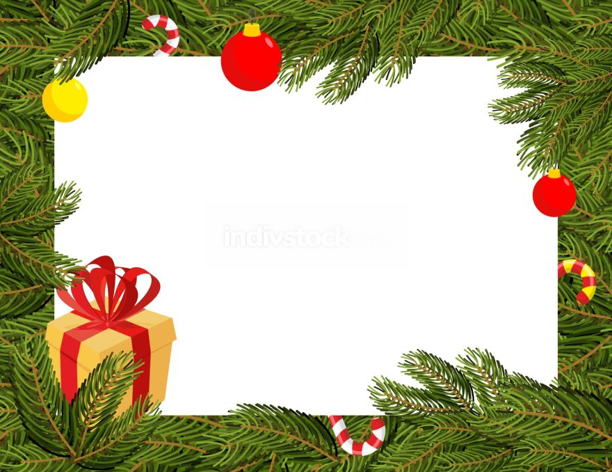 Christmas background. FIR branches and Christmas decorations. Mi