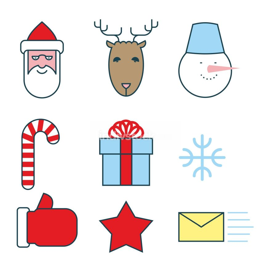Christmas icons set. Flat  line icons for new year. Santa Claus