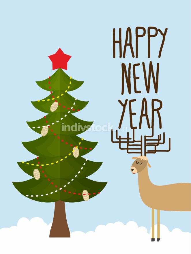Christmas tree and deer. Holiday card for Christmas and new year