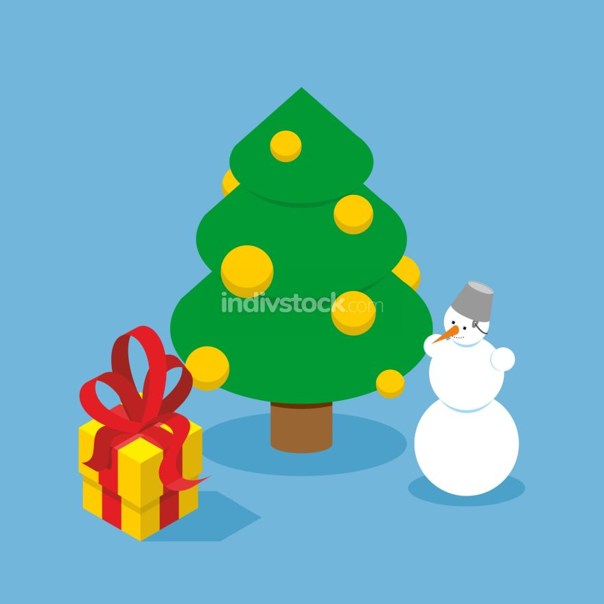 Christmas Tree and snowman. Gift box. Holiday tree adorned with