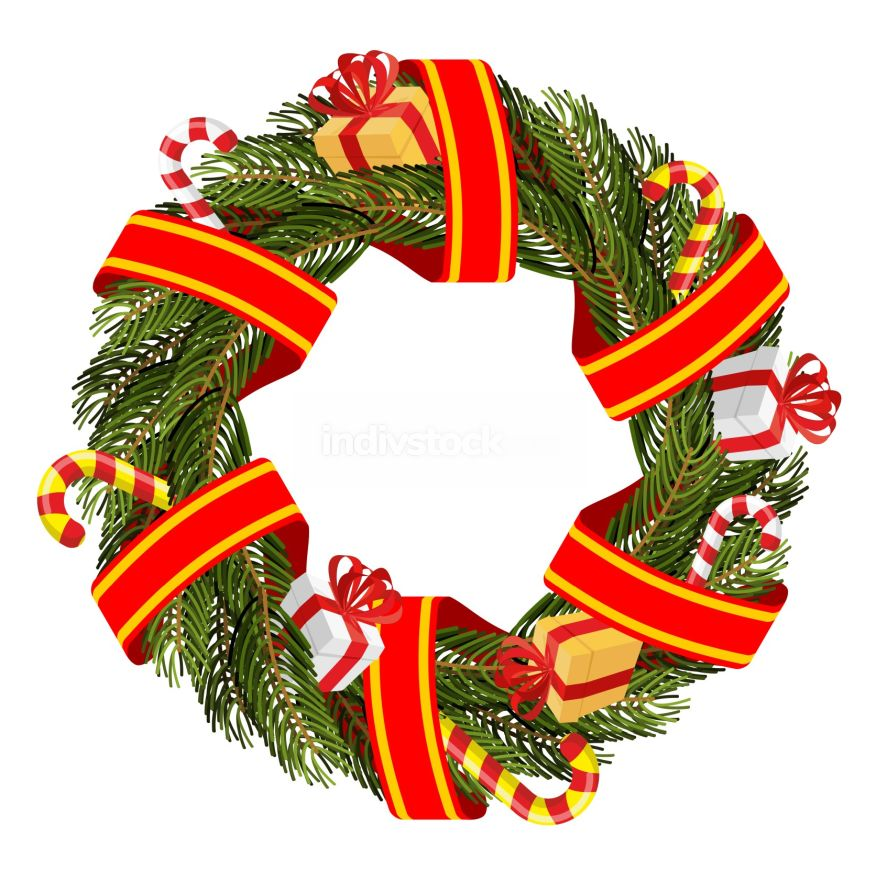 Christmas wreath of spruce branches. Decoration for winter holid