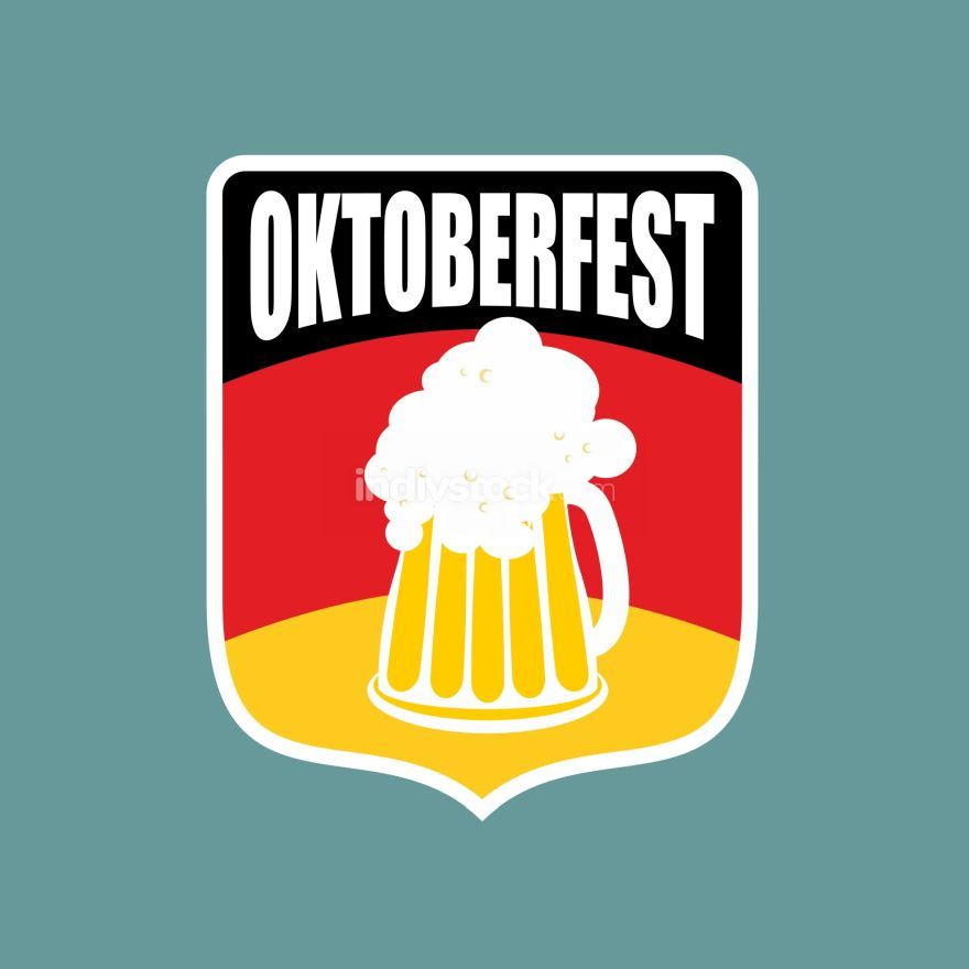 Coat of arms of Oktoberfest. Flag of Germany and a mug of beer.