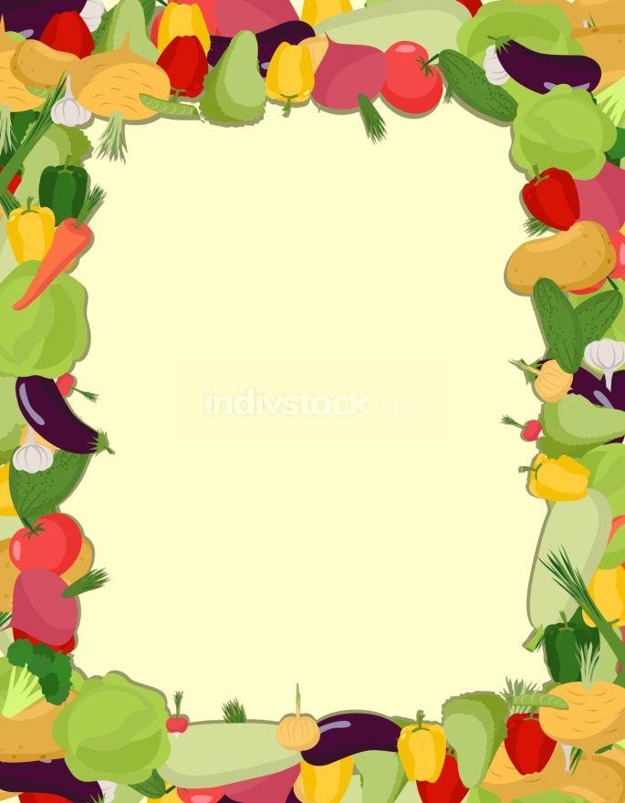 Colorful Vegetable Frame Healthy Food Concept Vector Illustrat Indivstock