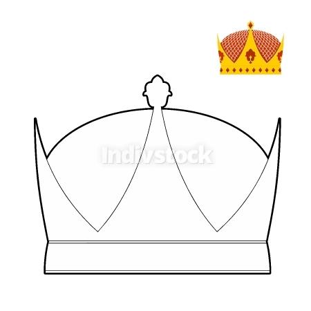 Coloring book Crown. Royal Crown. Hat for King. Vector illustrat