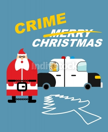 Crime Christmas. Santa Claus in handcuffs. Deer sits in  police