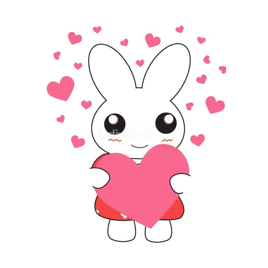 Cute cartoon bunny girl in a pretty pink dress with hearts. Vect