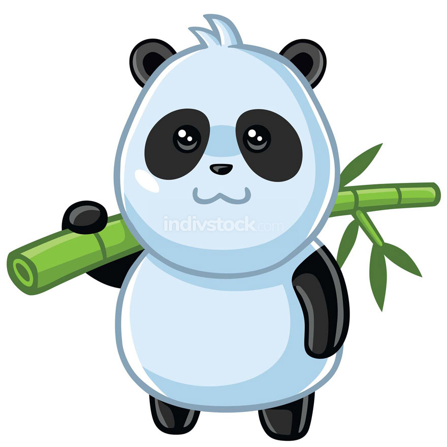 Cute Little Panda Carrying Bamboo Cartoon Vector