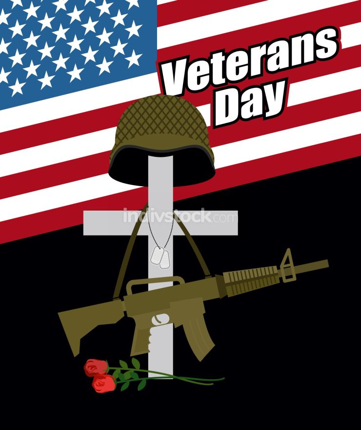 Day of remembrance for war veterans. Veterans Day. Cross with  s