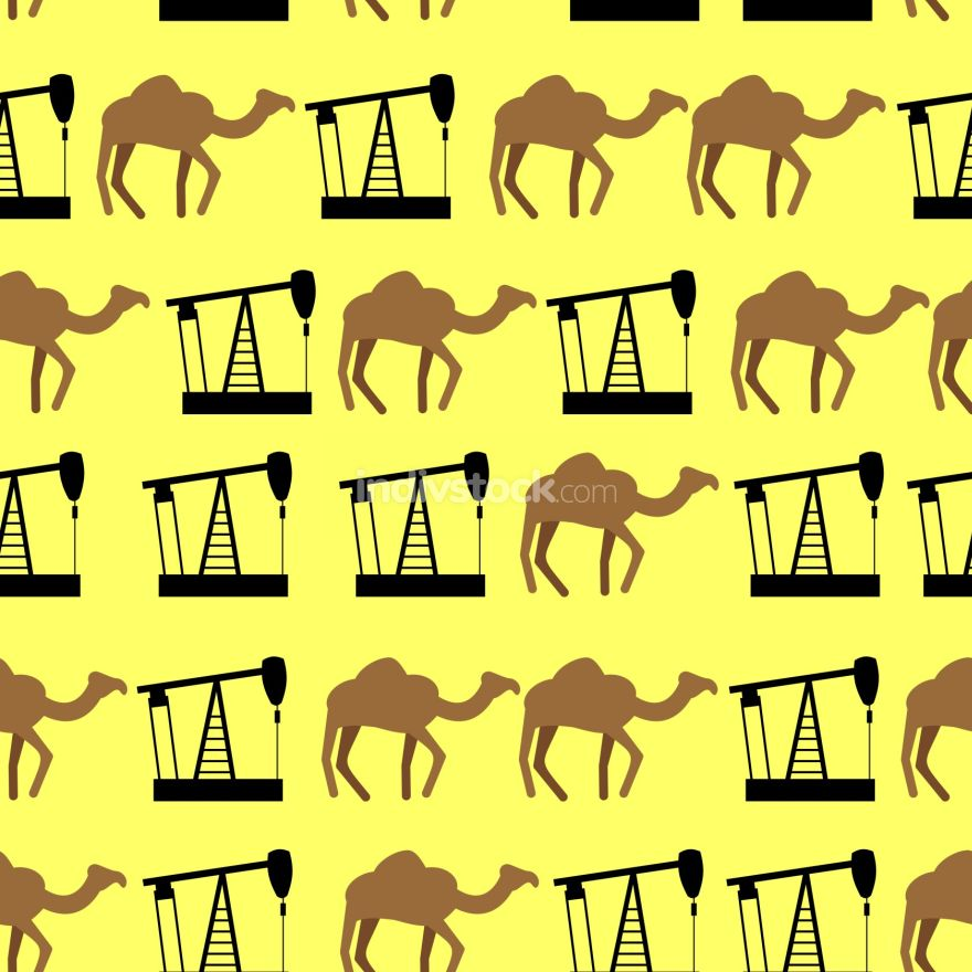 Desert camels and oil pumps seamless pattern. Vector background
