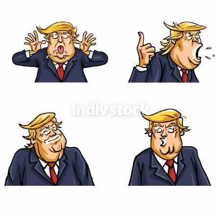 Donald Trump Face Expressions Set Vector Portrait