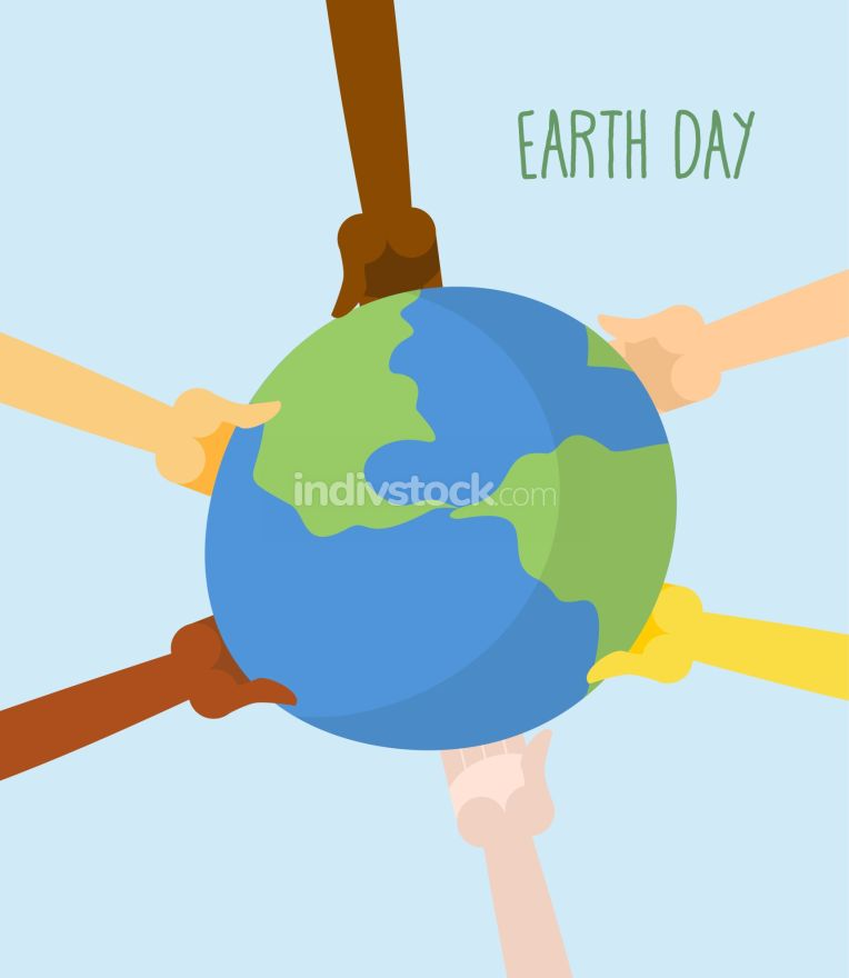 Earth Day. People hands holding Earth. Vector illustration