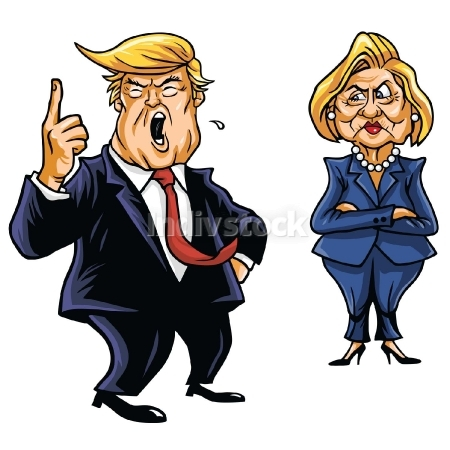 EDITORIAL USE ONLY: Donald Trump Cartoon Shouting and Hillary Clinton vector