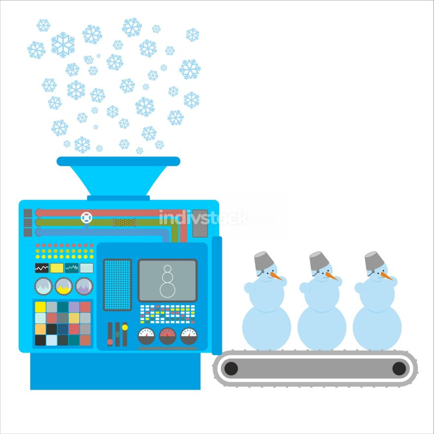 Factory snowmen. Apparatus for producing snow figures. Is  snow