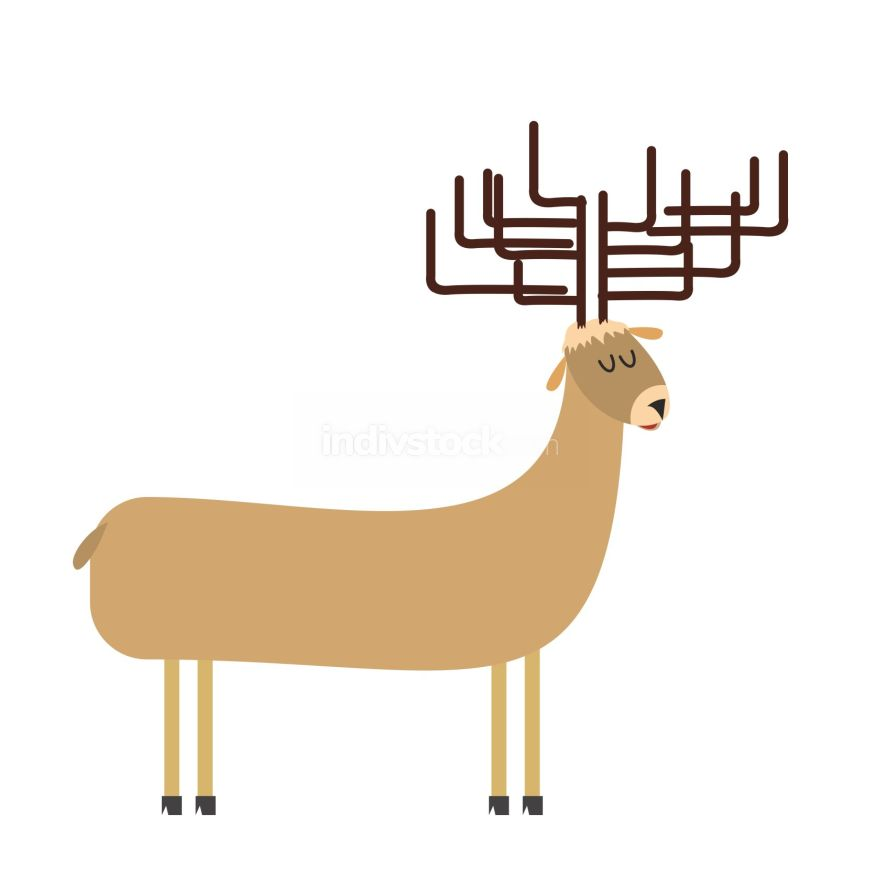 free download: deer cartoon. Vector illustration