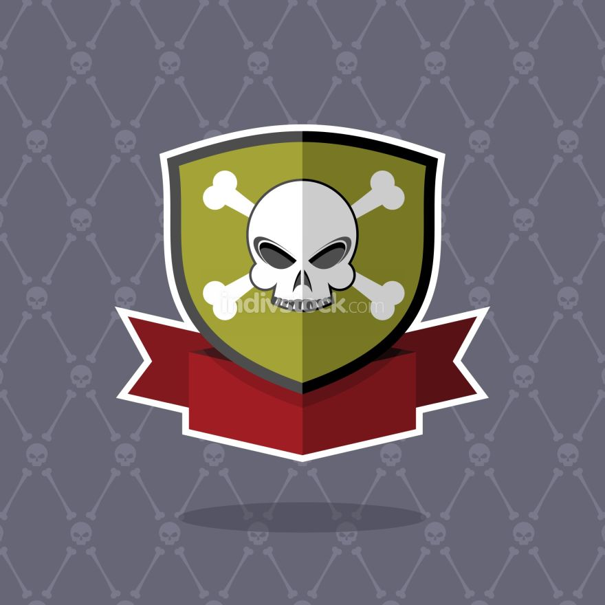free download: Shield with skull. pirate emblem