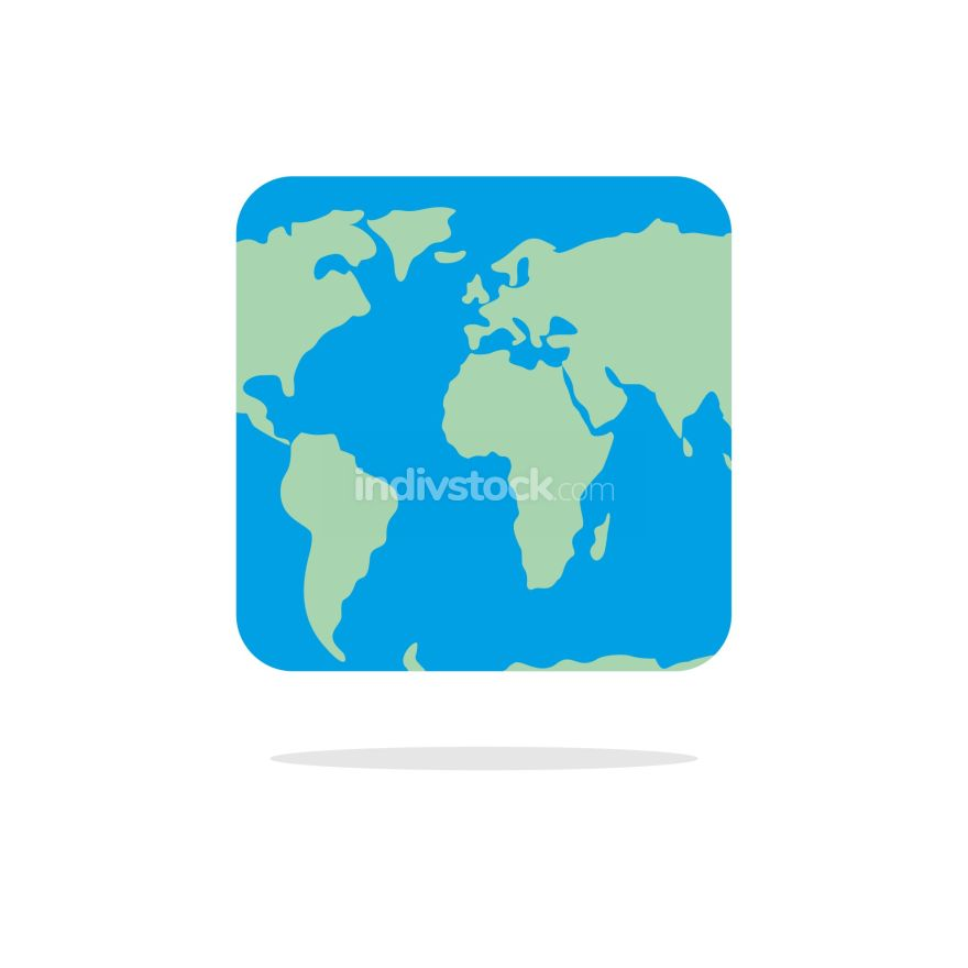 free download: Square world map. Atlas of unusual shape. Square earth. Earth in
