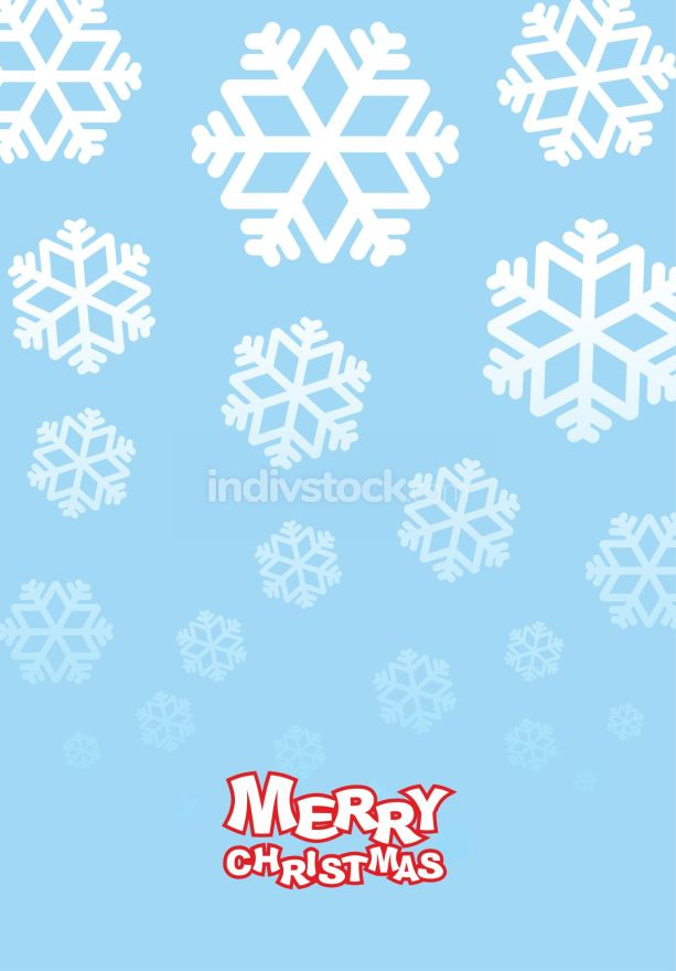 Happy Christmas card. Falling snowflakes on blue background. Fes
