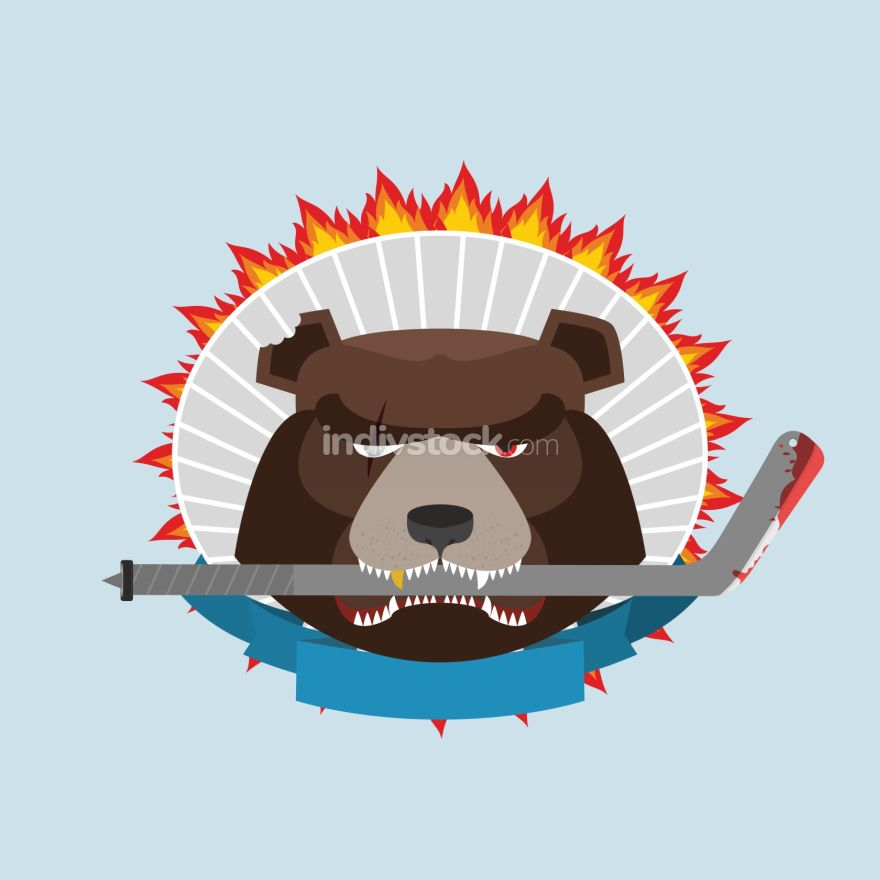 Hockey emblem. Angry bear. Vector illustration