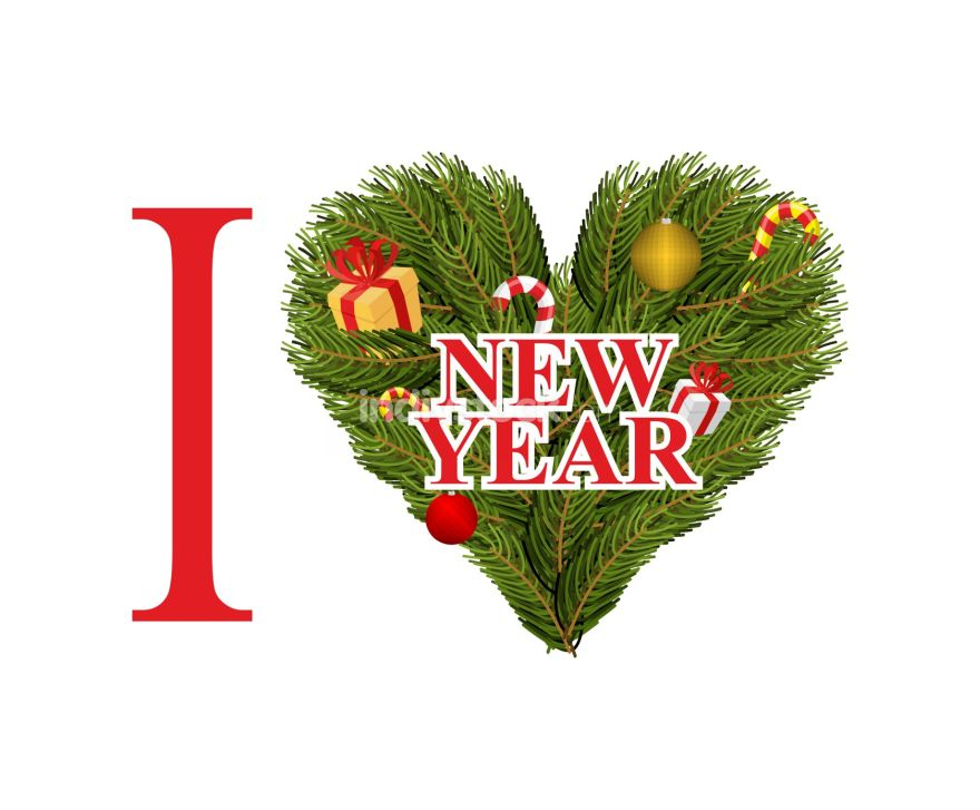I love new year. Symbol heart of FIR branches and decorations. M
