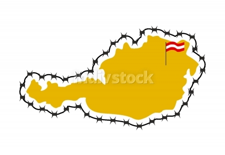Map Of Austria. Country closes  border against refugees. Map of