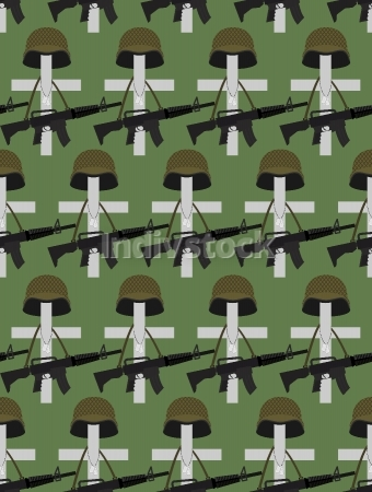 Military Cemetery. Vector background of Memorial Day. Crosses wi