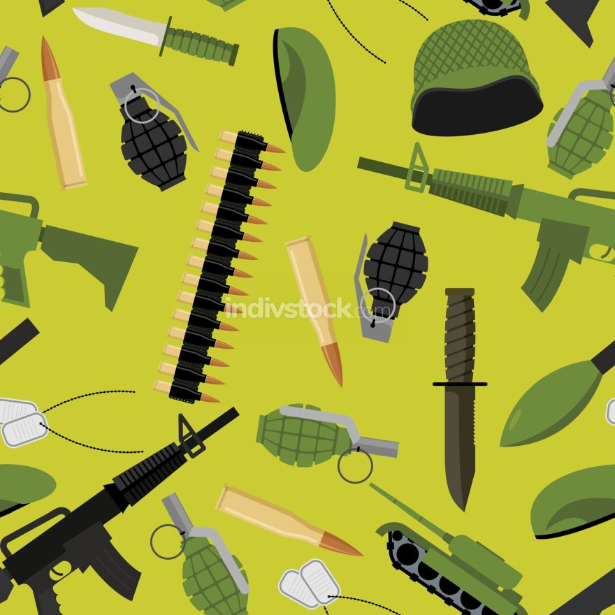 Military seamless pattern. Army background objects. Weapons and
