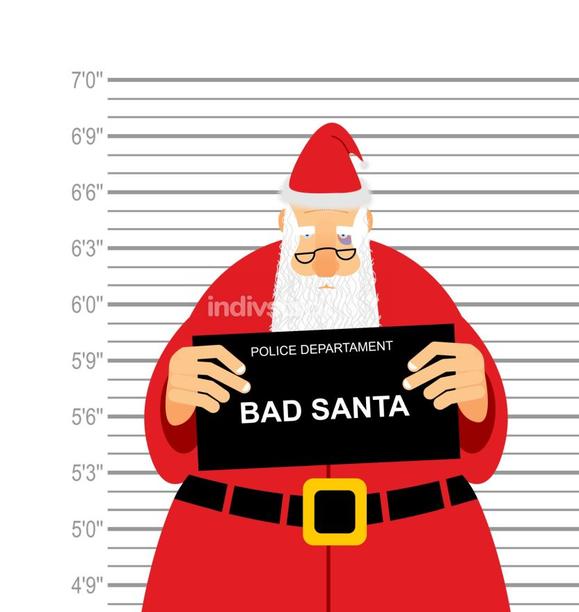 Mugshot is bad Santa. Arrested Sana Claus at  police station hol