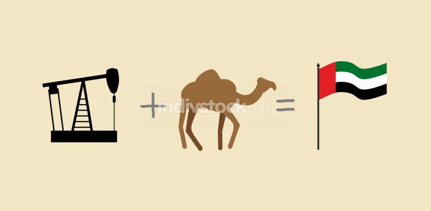 Oil rig and camel. Symbols of  United Arab Emirates. UAE Flag. V