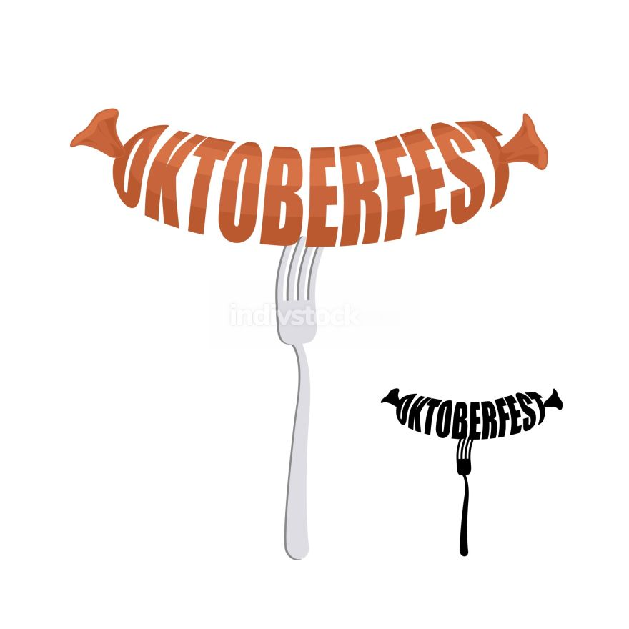 Oktoberfest. Text in form of sausages on a fork. Vector emblem f