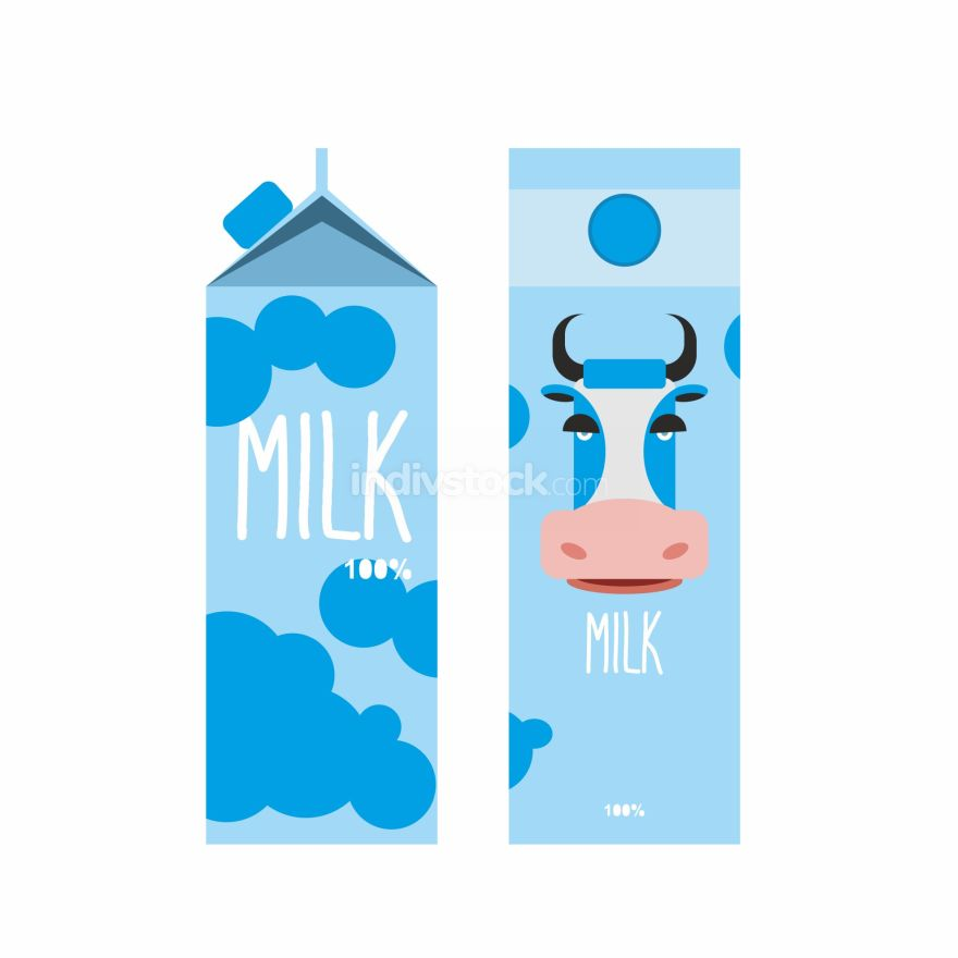 Packaging of milk. Template design Package with blue cow milk. V